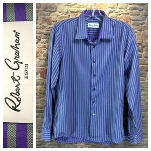 ☮️Boys Robert Graham lavender/purple stripe shirt